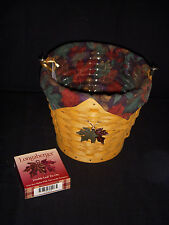 Longaberger 2002 Autumn Pail Combo/Falling Leaves Liner, Protector & Tie-On New!