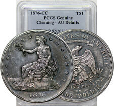 1876 CC TRADE DOLLAR KEY DATE AU NEAR BU PCGS GENUINE