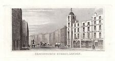 1840 VICTORIAN PRINT ~ GRACECHURCH STREET ~ LONDON