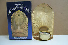 Rare Antique Bradford Novelty Co. Gold Plated Brass Candle Holder Collectible