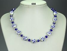 Beautiful blue & white flower porcelain bead necklace, cobalt blue crystals 19""