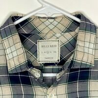 Billy Reid Mens Designer Shirt LS Blue White Plaid Large