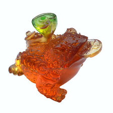 Liuli Crystal Golden Toad Figurine Paperweight Decorative Ornaments Unique Gifts