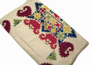 """Pottery Barn Multi Colors Autumn Embroidered Dinner Table Runner 20"""" X 108"""" New"""