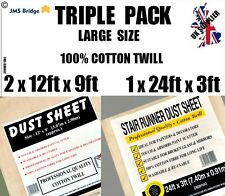 3 (THREE) PACK TRADITIONAL COTTON TWILL DUST SHEETS, INCLUDES STAIR CASE RUNNER