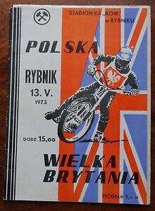 Poland v United Kingdom (13th May 1973) Speedway Programme