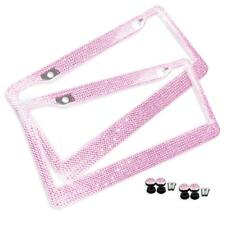 Zone Tech 2 Pink Bling Glitter Crystal RhineStone License Plate Frame Car Auto