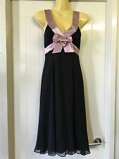 Review Size 8 Black Pale Pink Ribbon Cocktail Dress Fancy Formal Evening Event