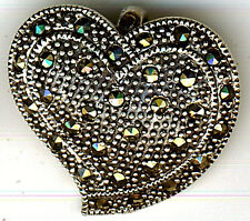 """925 Sterling Silver Large Marcasite Heart Pendant Width 27mm 1"""" Length 25mm 1"""""""