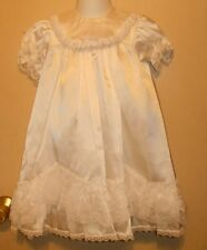 Phyliss Baby Wear Satin & Lace Christening Baptism Gown + Slip 6-12M NWT