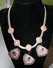 Rose Gold Tone Hearts Drop Stone & Crystal Frontal Necklace NWT $42