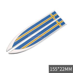 2pcs SWEDEN SE Flag Chrome Car Auto Emblem Badge Sticker Decal For Volvo Saab