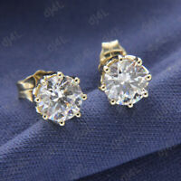 2.00 Ct Round Cut Solitaire Diamond Real 14K Yellow Gold Womens Stud Earrings