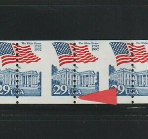 US EFO, ERROR Stamps: #2609 Flag, White House Perf shift PS8 #6, PNC. MNH