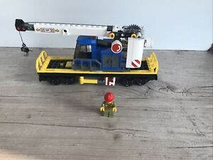 LEGO Train Carriage Flatbed Rotating Crane Cargo Freight Wagon & Minifig 60198