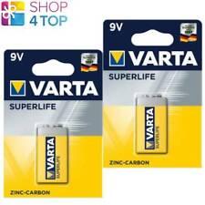 2 VARTA SUPERLIFE ZINC-CARBON POWER 9V BATTERY E-BLOCK 2022 6F22 EXP 2022 NEW