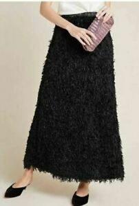 Anthropologie Sunday in Brooklyn Chantal Feathered Skirt Size Small Black BNWT