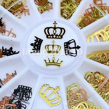 black gold metal Imperial crown nail art decoration foils decals slice wheel new