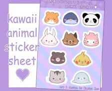 Kawaii Animal Stickers, Cute Manga Sticker Sheet, Dog Kitten Cat Alpaca Panda