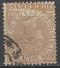 Straits Settlements 1883 Used 4c Deep Brown SG69W Cat £180  INVERTED WMK