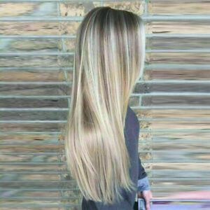 Luxury Lace Front Balayage Brown Ash Blonde Human Hair Full Lace Wig Highlights