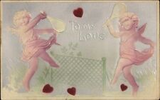 Cherubs Cupids Playing Tennis Airbrushed Embossed Valentine Postcard c1910