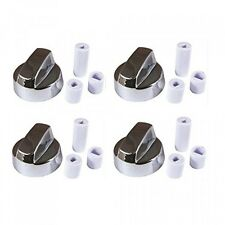 4Pack Silver Chrome Generic Design Stove / Oven Control Knob w/ 12 Adapters
