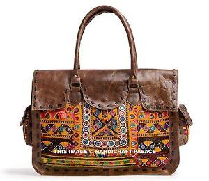 Genuine Vintage Leather Messenger Briefcase Satchel Women Embroidered Bag Brown