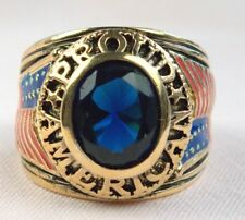 Proud American Patriot Blue simulated Sapphire mens Ring 18k gold overlay siz 14