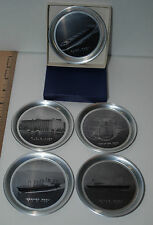 N.Y.K. LINE TIN COASTERS IN GIFT BOX Five Coasters 5 ships or vessels B&W