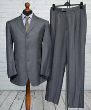Gianfranco Gauche Single Breasted Grey Wool Striped Trouser Suit 40R 34W 32L