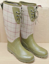 Laura Ashley Ladies Hunter Green Chequered Wellies Wellington Boots UK: 3,4