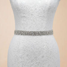 Dazzling Womens Bridal Belt Crystal Rhinestone Wedding Dress Sash Ivory Party