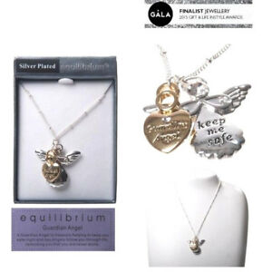 Silver EQUILIBRIUM Inspirational Guardian Angel Crystal Heart Charm Necklace