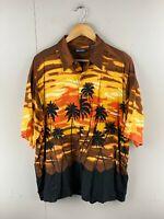 Puritan Men's Vintage Short Sleeve Hawaiian Shirt - Orange - Size Large