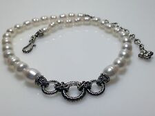 Barbara Bixby White Honora Cultured Freshwater Pearl Necklace 3 Charm Rings