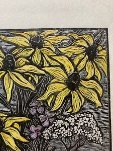 5.5 x 4 Small Woodcut Print Wild Flowers by Rosemary Feit Covey 15/200 Woodblock