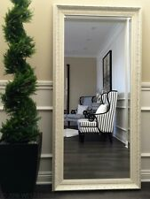 "West Frames Elegance Ornate Embossed Antique White Wood Floor Mirror 31"" x 67"""