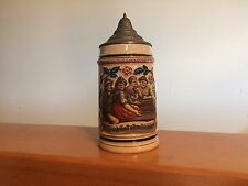 German Pewter Lidded Beer Mug Stein Couples Drinking 1/2L
