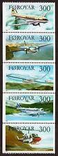 Faroe Islands: Aircraft; complete unmounted mint (MNH) set (vertical strip of 5)