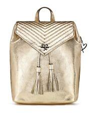 VICTORIA'S SECRET METALLIC GOLD CRACKLE V-QUILT ANGEL BACKPACK PURSE HAND BAG
