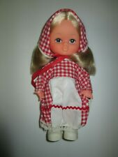 Vintage Made Hong Kong Plastic Doll with Blonde Hair Red Gingham Dress