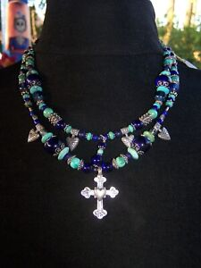 $278~Turquoise Lapis Sterling Sacred Cross Heart Charm Necklace Robert Shields