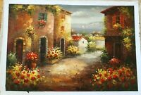 """Mediterranean Street Hand Painted High Quality Oil Painting on Canvas 24""""x 36"""""""