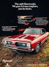 1968 Plymouth Barracuda Muscle Car -  Original Advertisement Print Car Ad J453