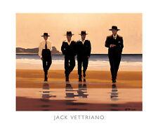 BILLY BOYS ART PRINT JACK VETTRIANO men black suits hats walking on beach poster