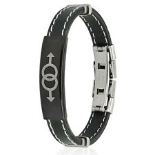 Stainless Steel Double Male Symbol ID Plate Rubber Bracelet Size Adjustable