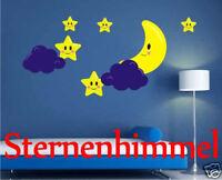 Wandaufkleber Wandtattoo fürs Kinderzimmer Sternenhimmel mit Mond Wolken