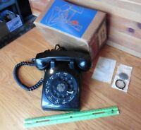 1959 black western electric rotary phone bell system desk top 500 Metal dial