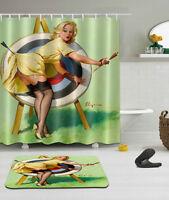 "Sexy Girl Bathroom Mat Waterproof Polyester Fabric Shower Curtain 12 Hooks 72"" 6"
